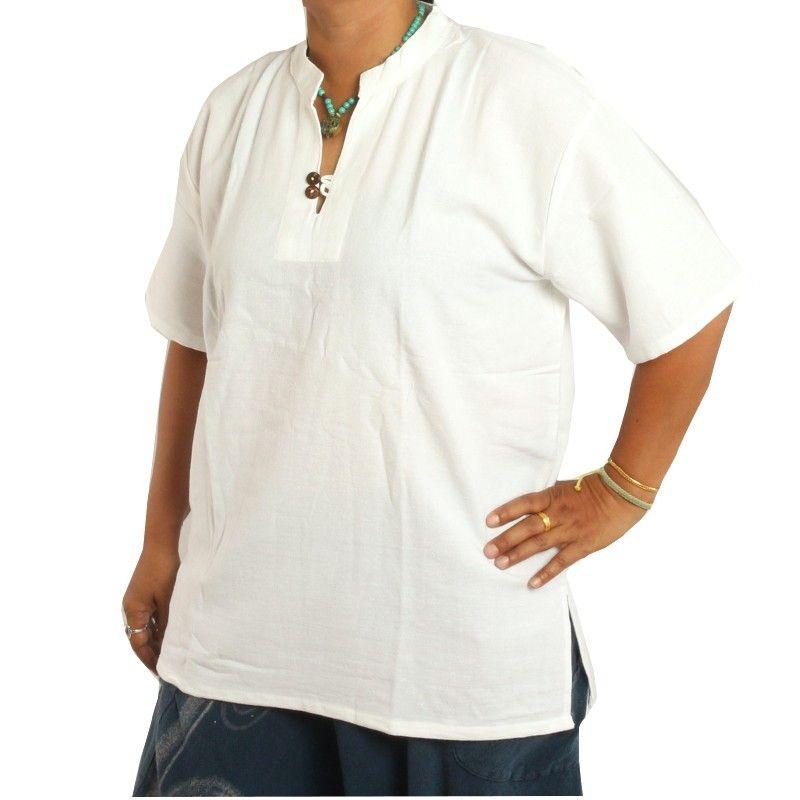 55fc7a807 camisa de algodón blanco tailandés comercio justo talla L