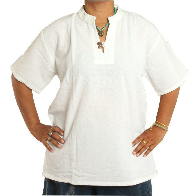 camisa de algodón tailandés comercio justo blanco talla M