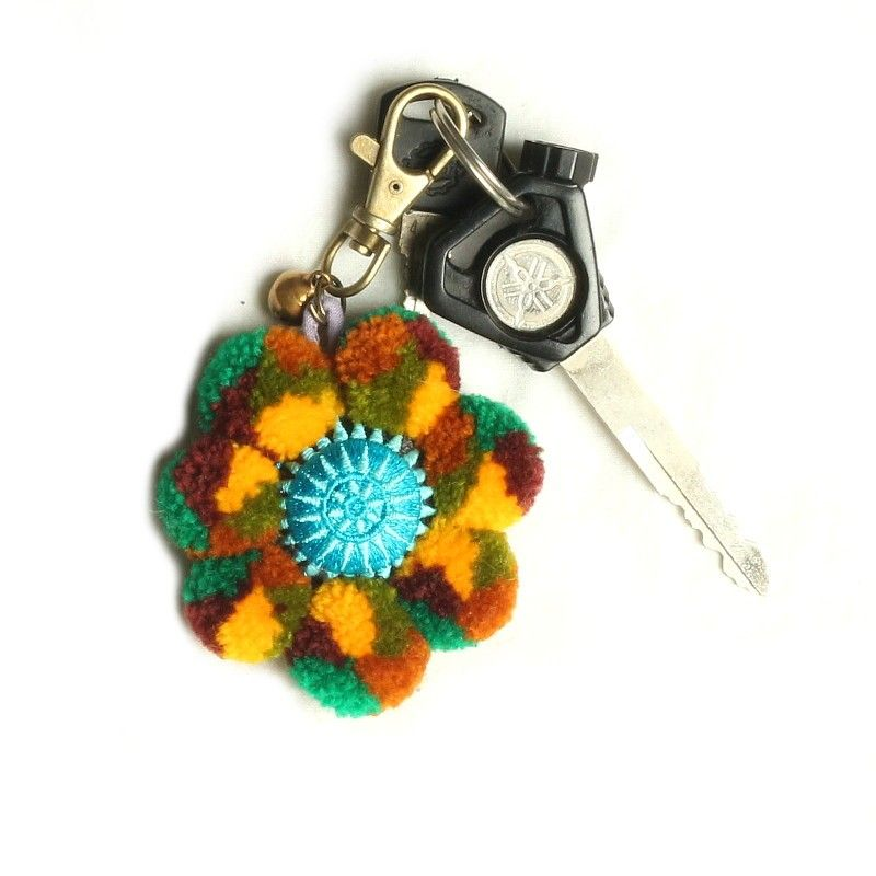 Bag charms key chain mandala flower