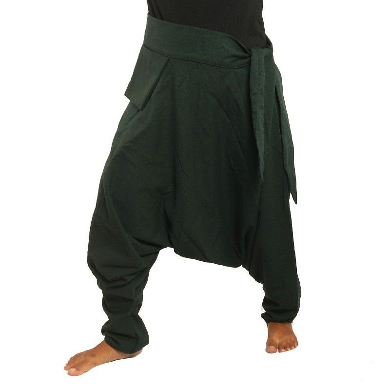 Aladinhose - mit kleiner Seitentasche seitlich zum Zubinden dunkelgrün