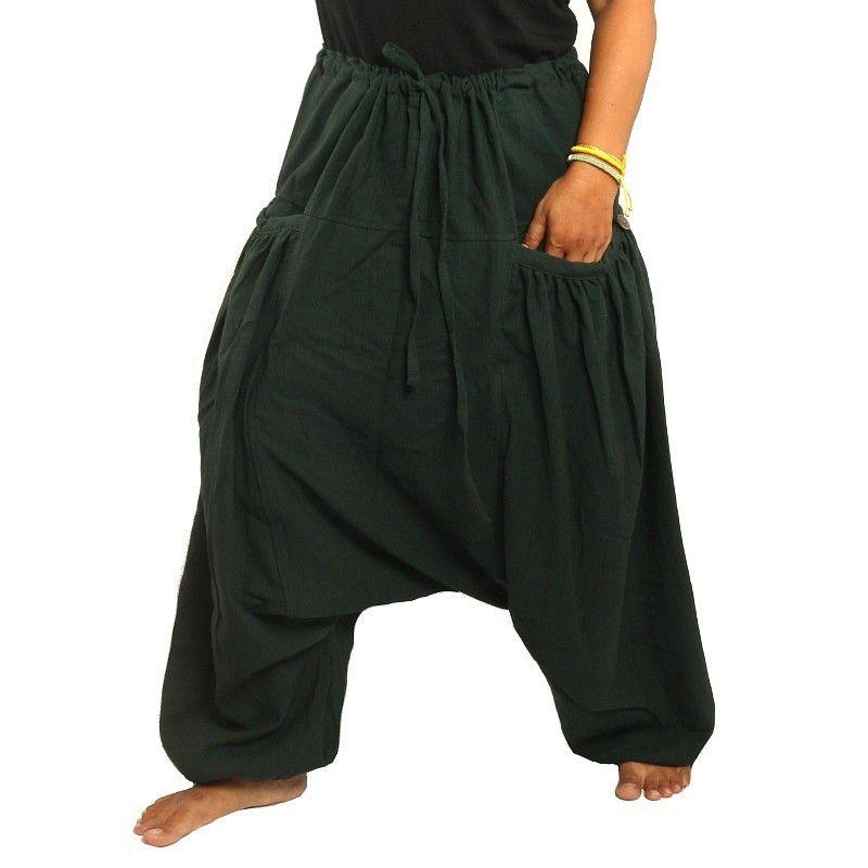 Pantalones afganos con dos amplios bolsillos laterales, verdes
