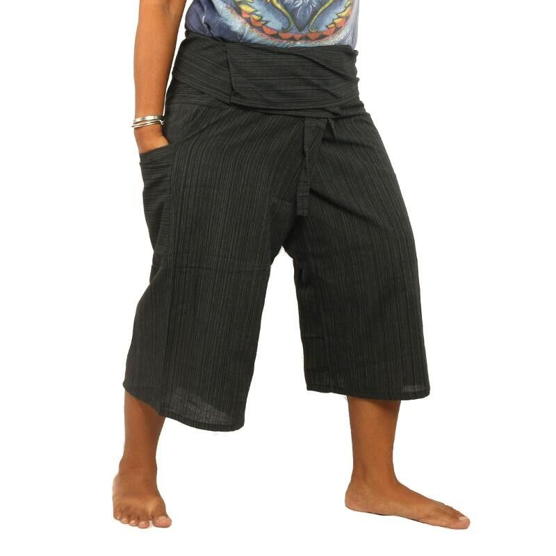 3/5 pantalones pescador tailandés de estilo - Negro - Algodón