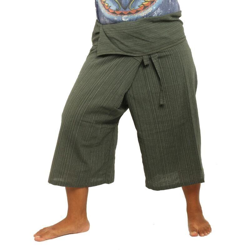 3/5 Thai Style Fisherman Trousers - green - cotton