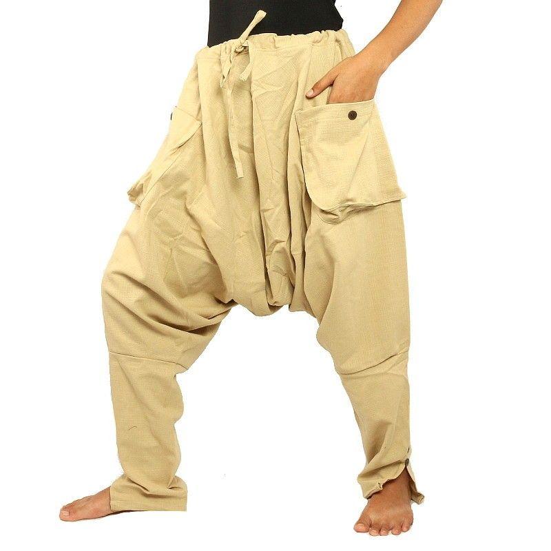 pantalones harén - algodón - luz de color caqui / crema