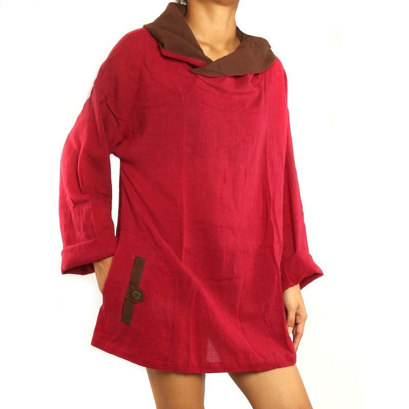 Cotton shirt for women Size ML red