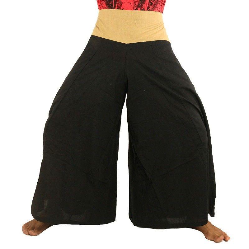 Samurai pantalones de algodón de color negro con el ajuste de la crema
