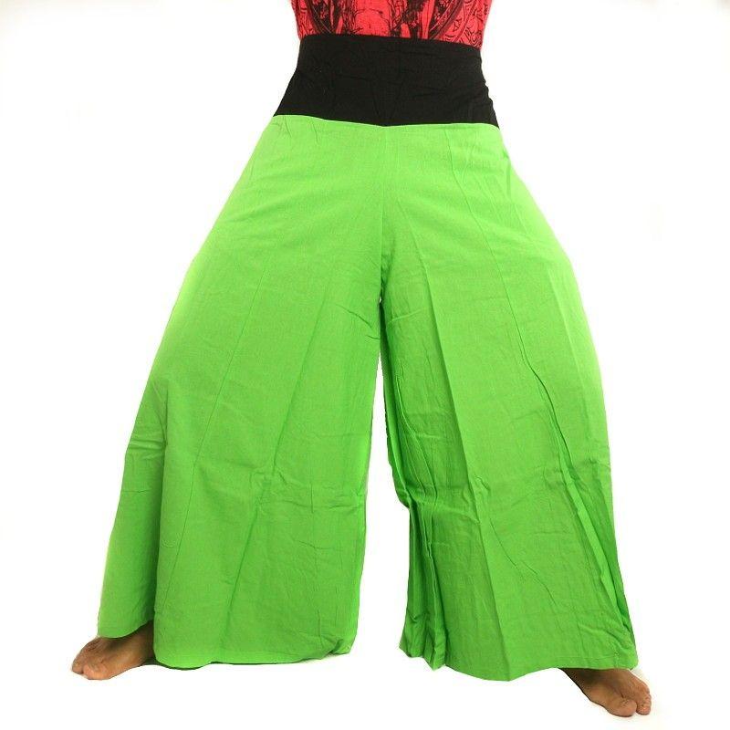 Samurai pantalones de algodón verde con el ajuste negro
