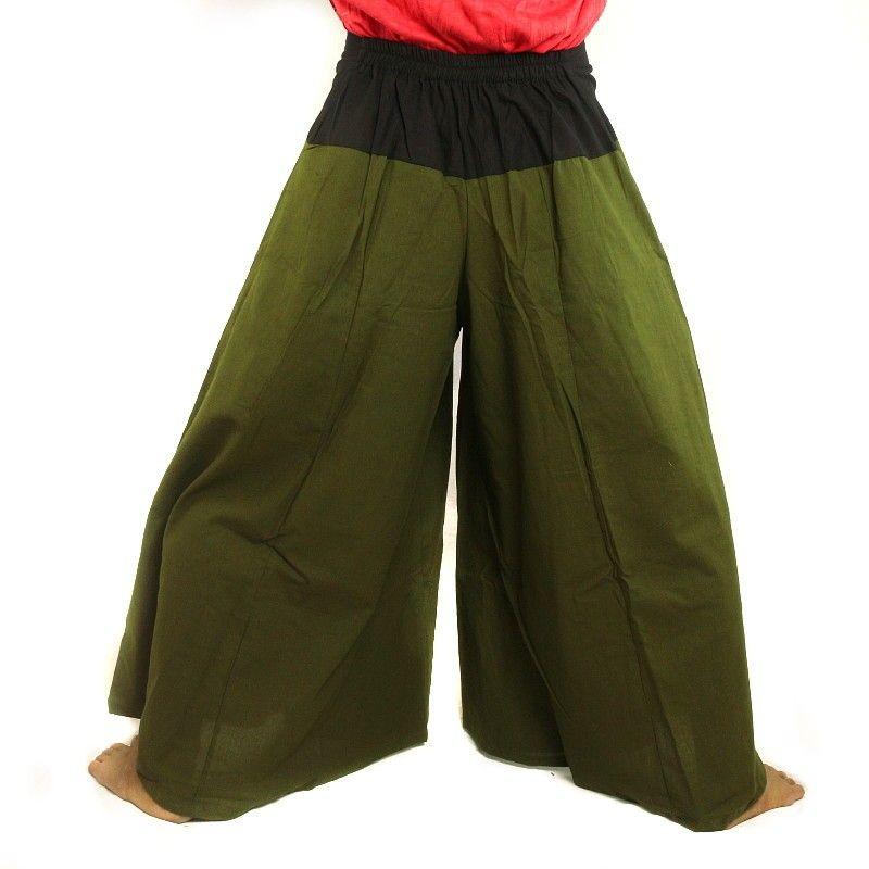Samurai pantalones de algodón de color verde oscuro de oliva