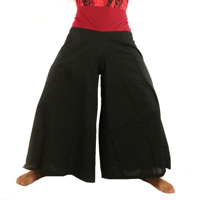 negro de algodón Pantalones samurai con la franja roja