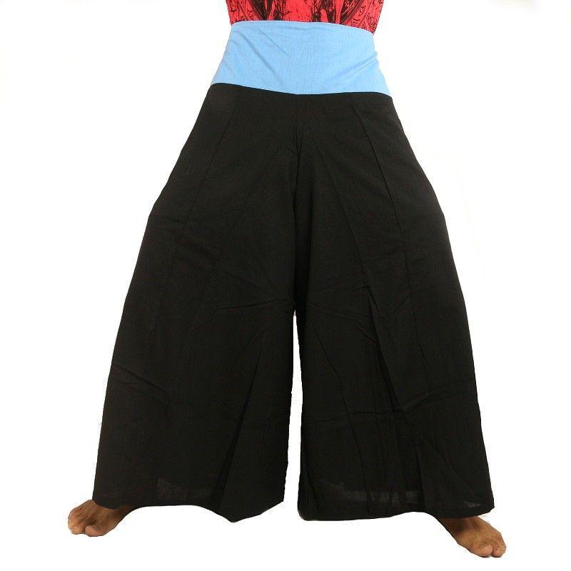Samurai Hose Baumwolle schwarz mit blauer Borte