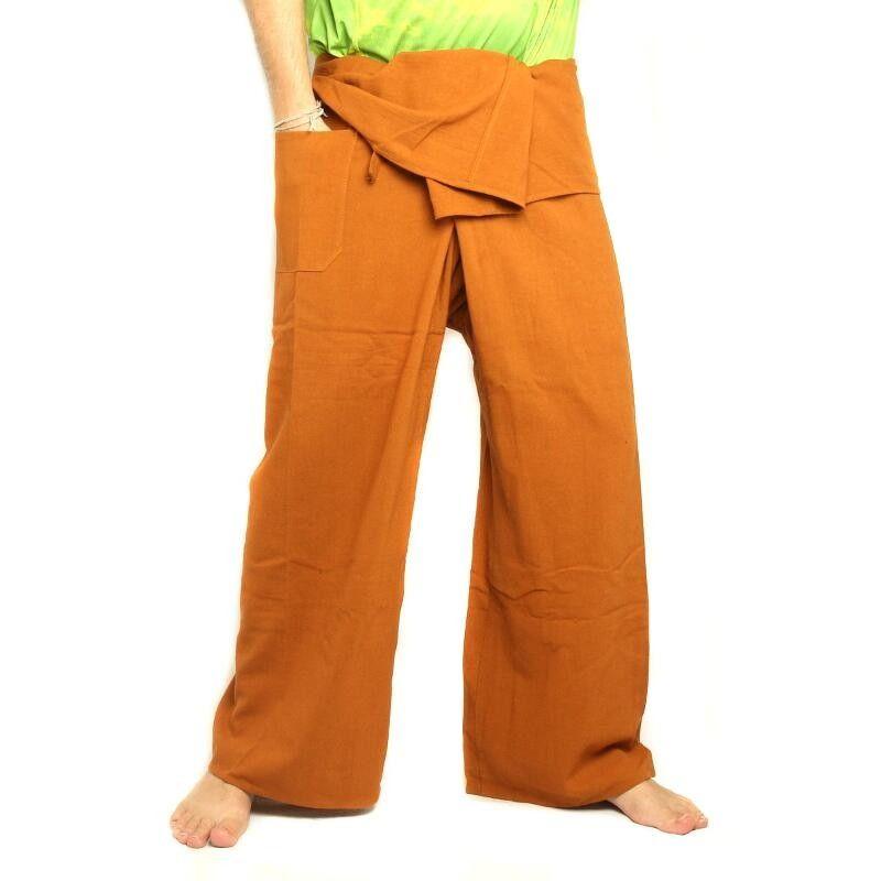 pantalon de pêcheur thaïlandais - ocre jaune - coton extra long