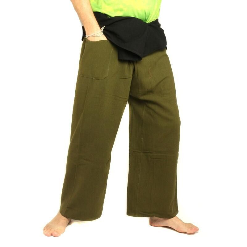 Thai Fisherman pants extra long - two-colored - olive green cotton