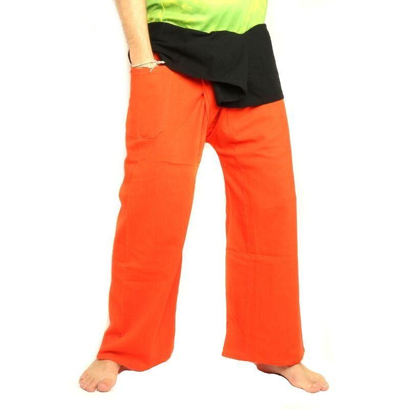 Thai Fisherman Hose extra lang - zweifarbig orange schwarz - Baumwolle