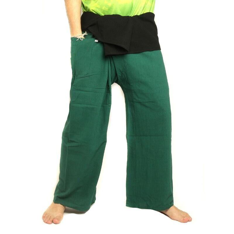 Thai Fisherman Hose extra lang- zweifarbig - grün schwarz Baumwolle