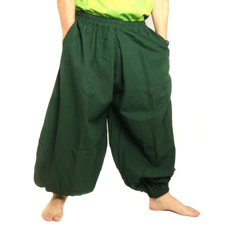 Haremshose Baggy Pants Baumwolle grün