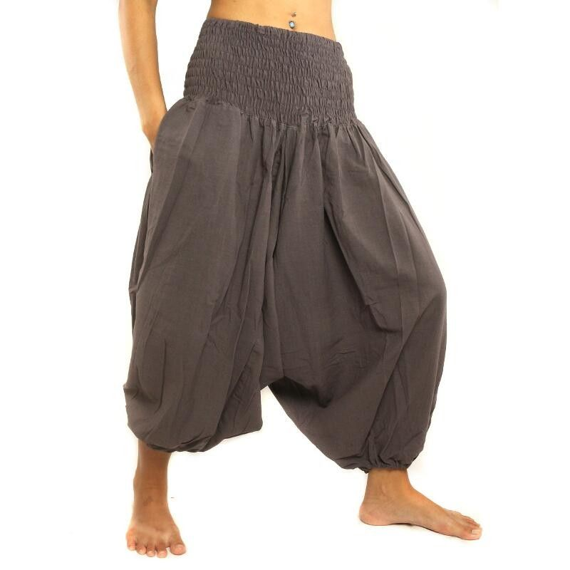 3/5 Baggy Pants cotton dark gray