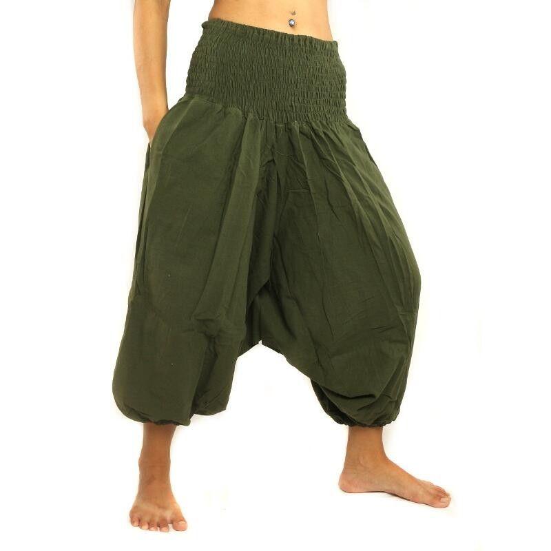 Pantalones holgados 3/5 pantalones harem de algodón verde