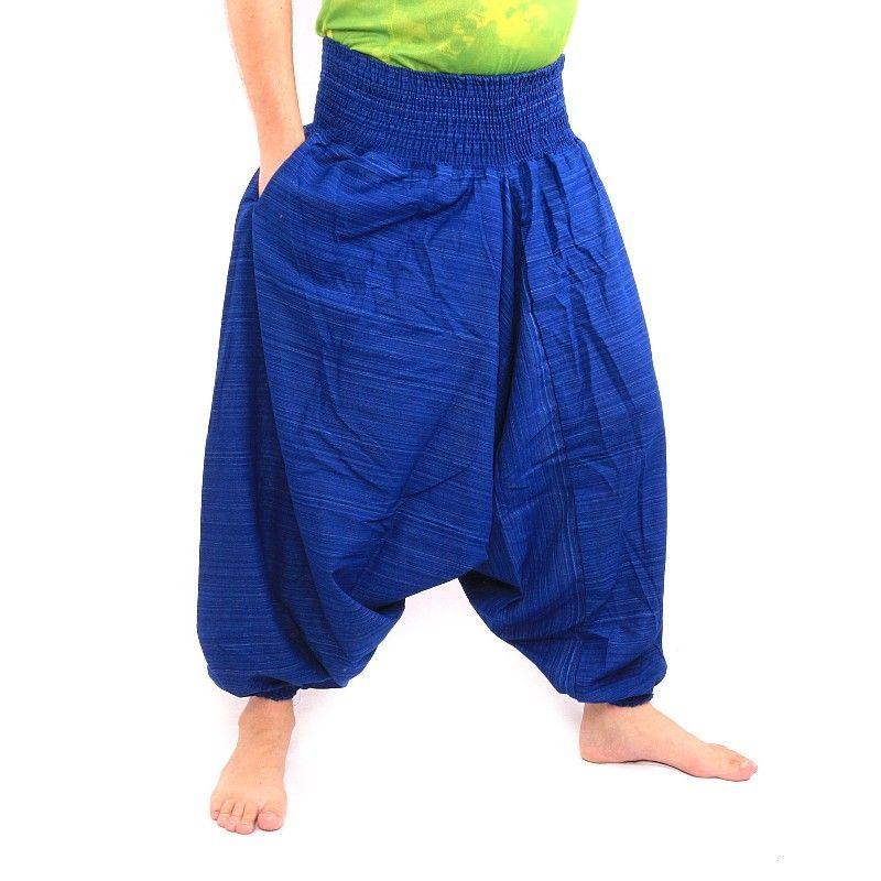 Afghani Hose Cottonmix mit Seitentasche - blau