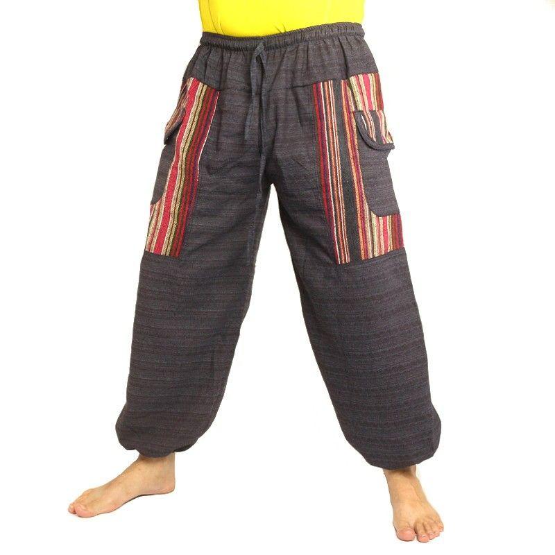 pantalones tailandeses aplicación de tela antracita Cottonmix