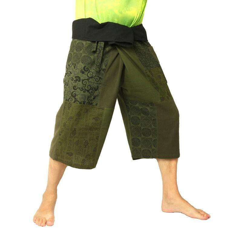 Kurze Thai Fischerhose Patchwork Shorts oliv grün