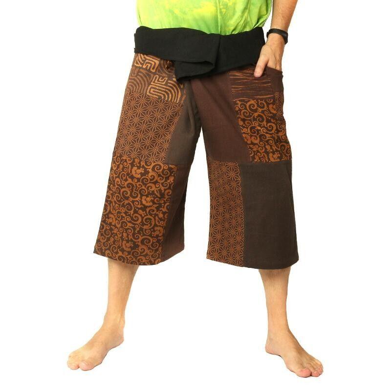 Thai Fischerman Patchwork Shorts braun