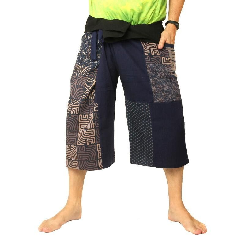 Thai Fischerman Hose Patchwork Shorts blau