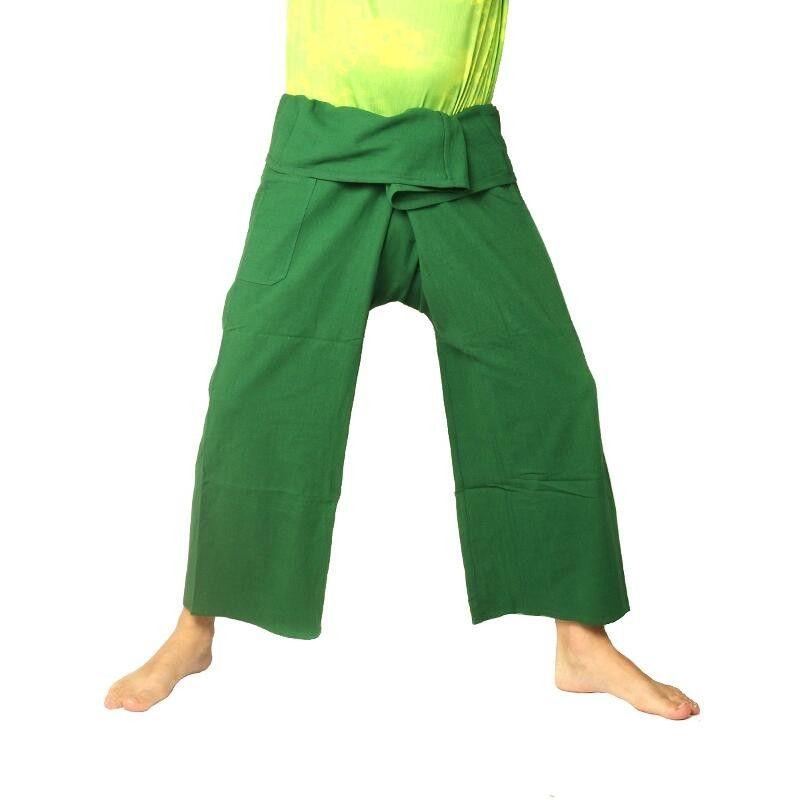 pantalones pescador tailandés de algodón pesado - verde