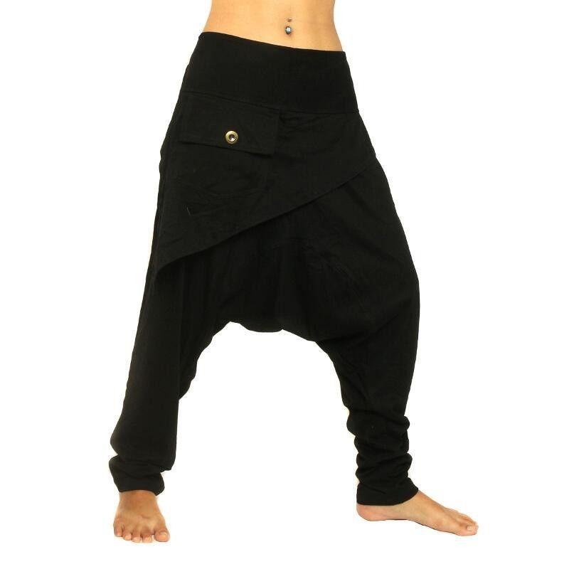 Haremshose schwarz Stretch Baumwolle