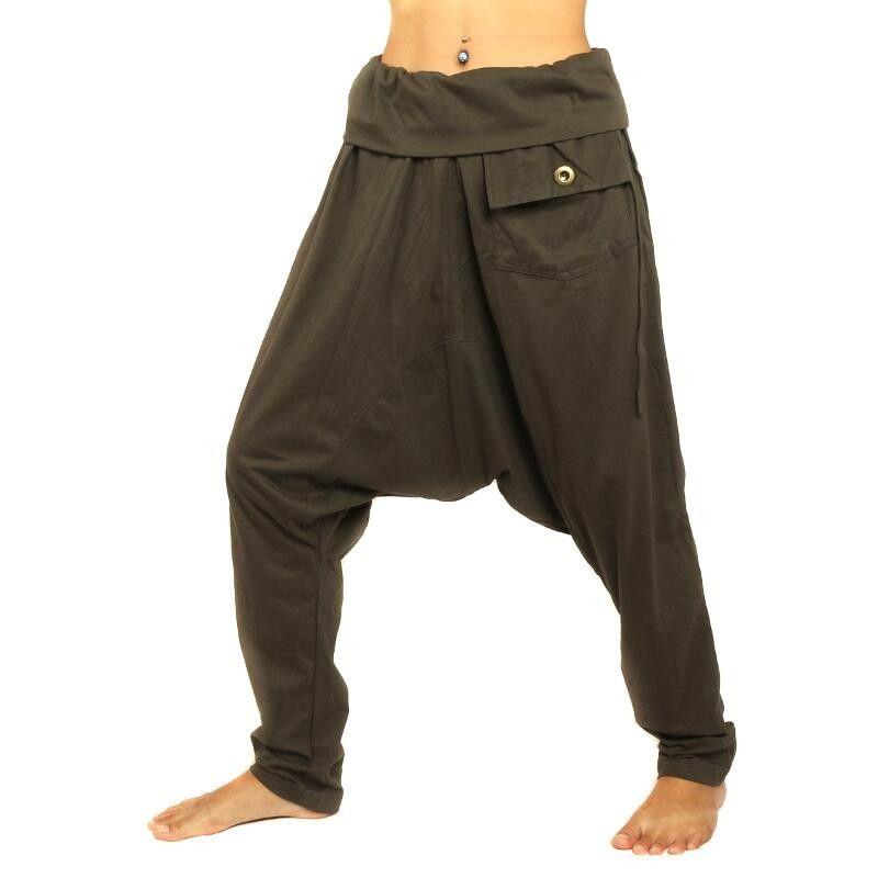 Haremshose dunkelbraun mit Seitentasche elastisch Baumwolle