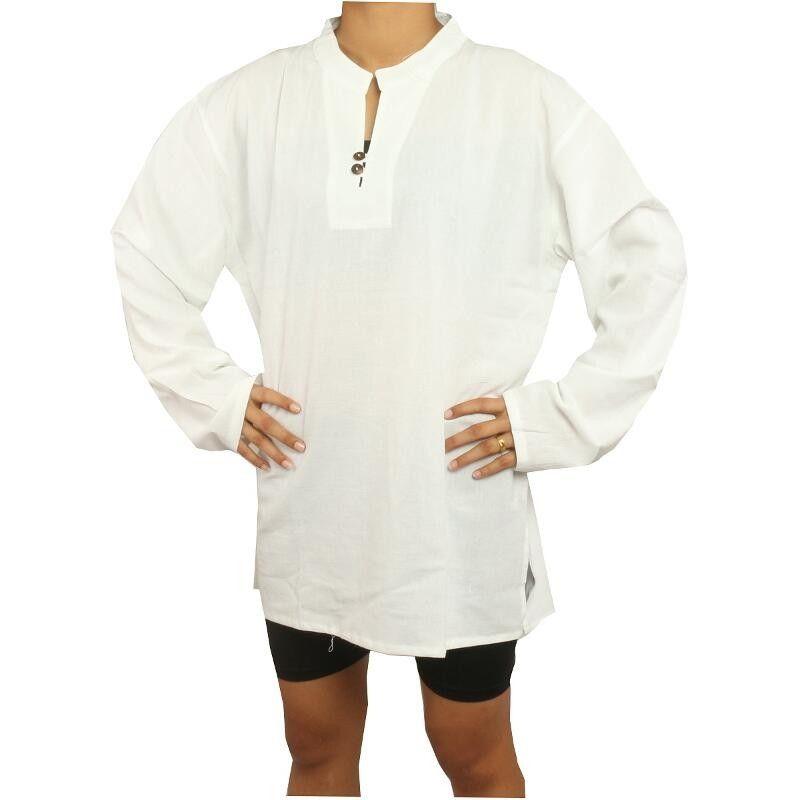 Thai Hemd aus Baumwolle fairtrade weiß Größe L