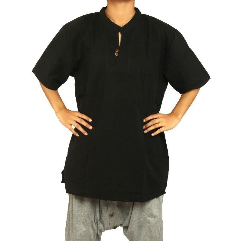 Thai Baumwollhemd schwarz fairtrade Größe L