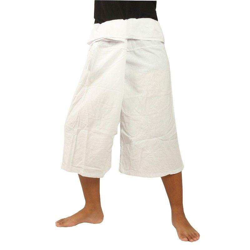 3/4 kurze Thai Fisherman Hose - weiß - Baumwolle