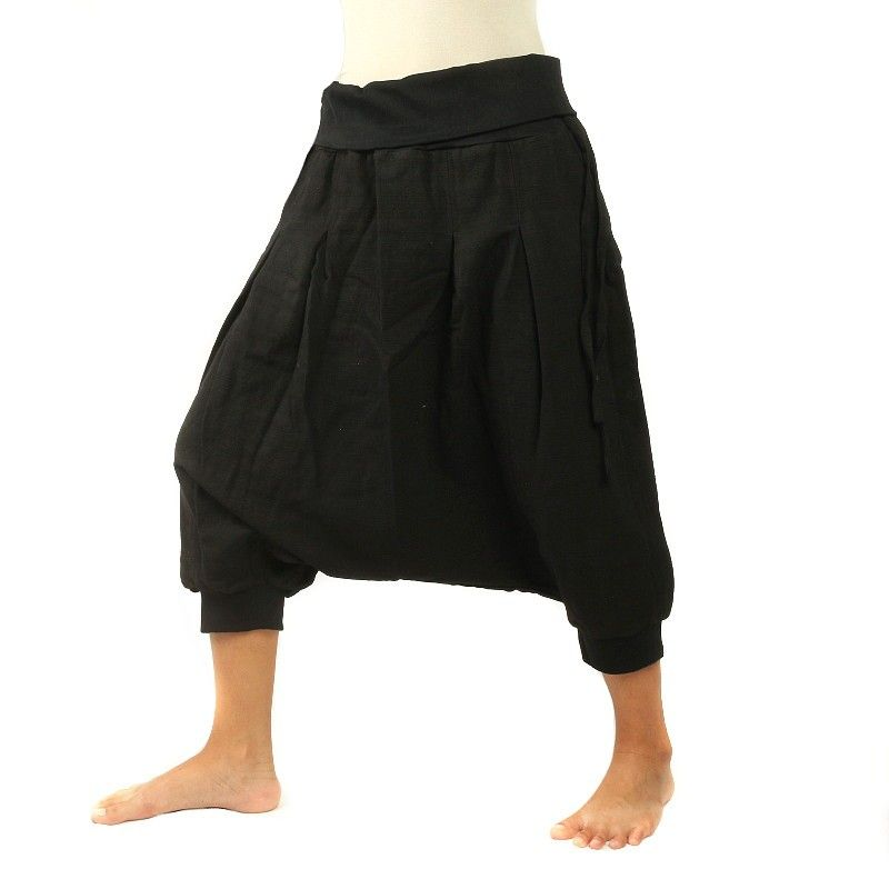 3/4 Aladdin pants - Pisett black with 2 pot pockets