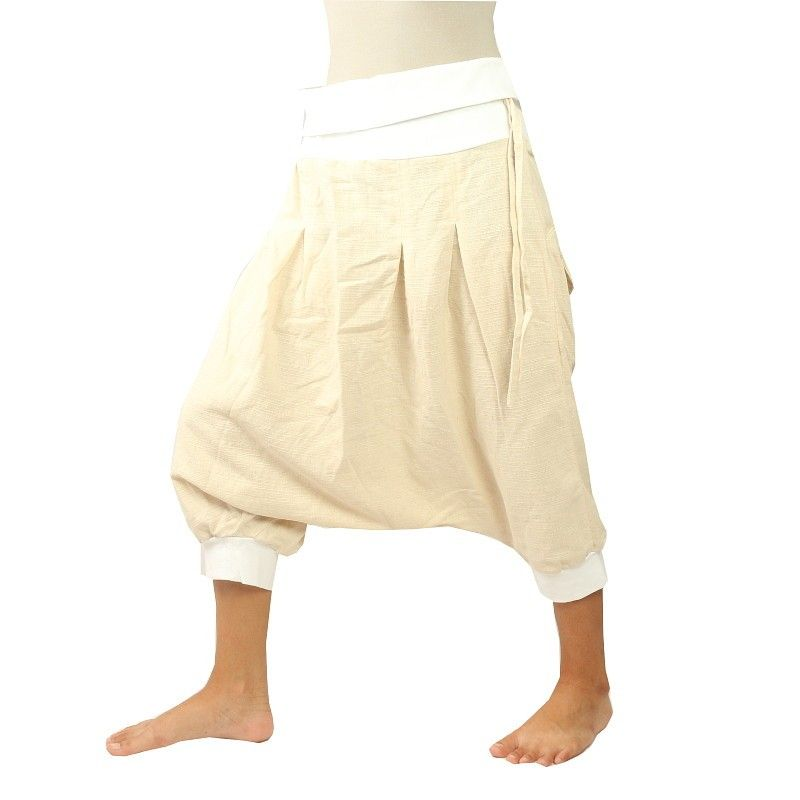 3/4 Aladdin - blanco Pisett, crema con 2 bolsillos traseros