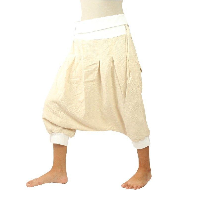 3/4 Aladdin Pants - Pisett white, cream with 2 bottles