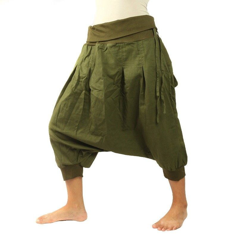 3/4 Aladdin Pants - olive olive with 2 back pockets