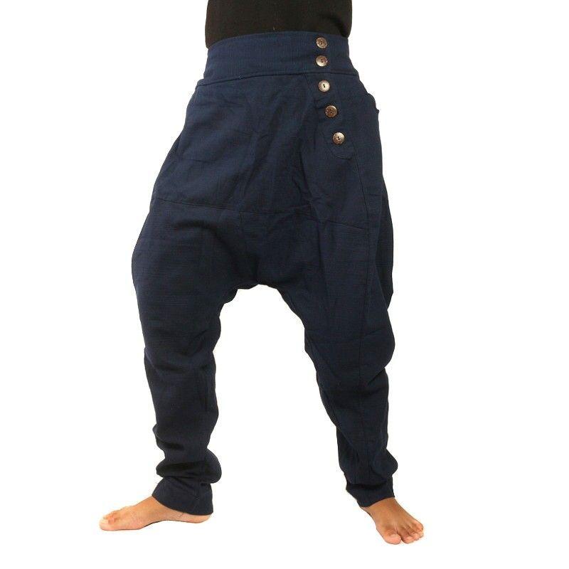 pantalones de harén de algodón azul