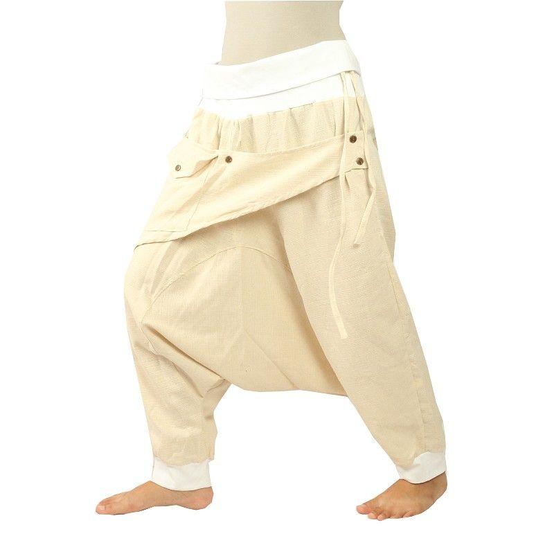 3/5 Aladinhose - weiß mit Stoff-Zierapplikation und Tasche