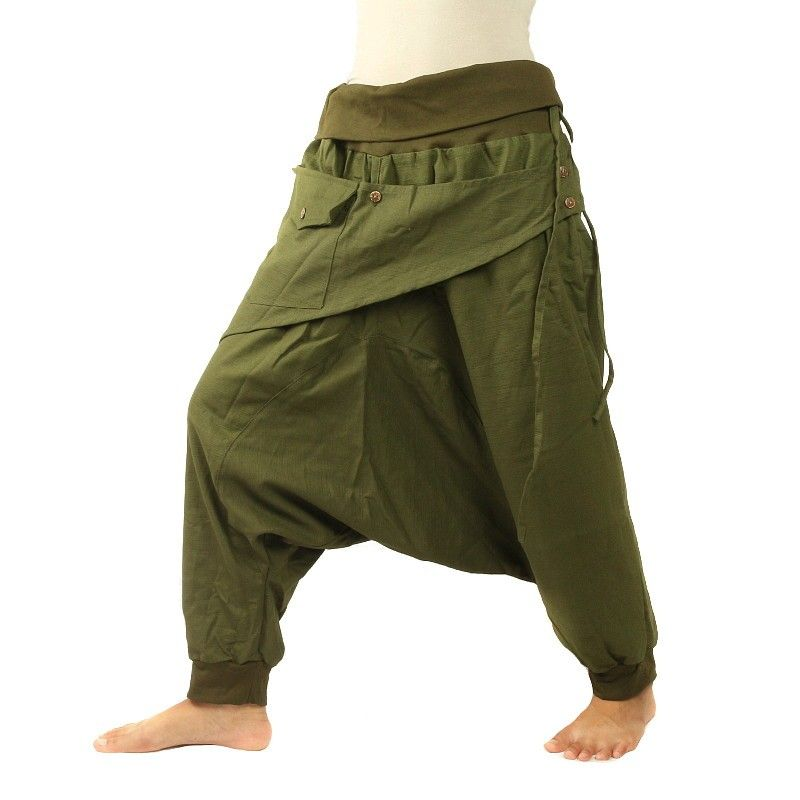 3/5 Aladinhose - oliv grün mit Stoff-Zierapplikation und Tasche