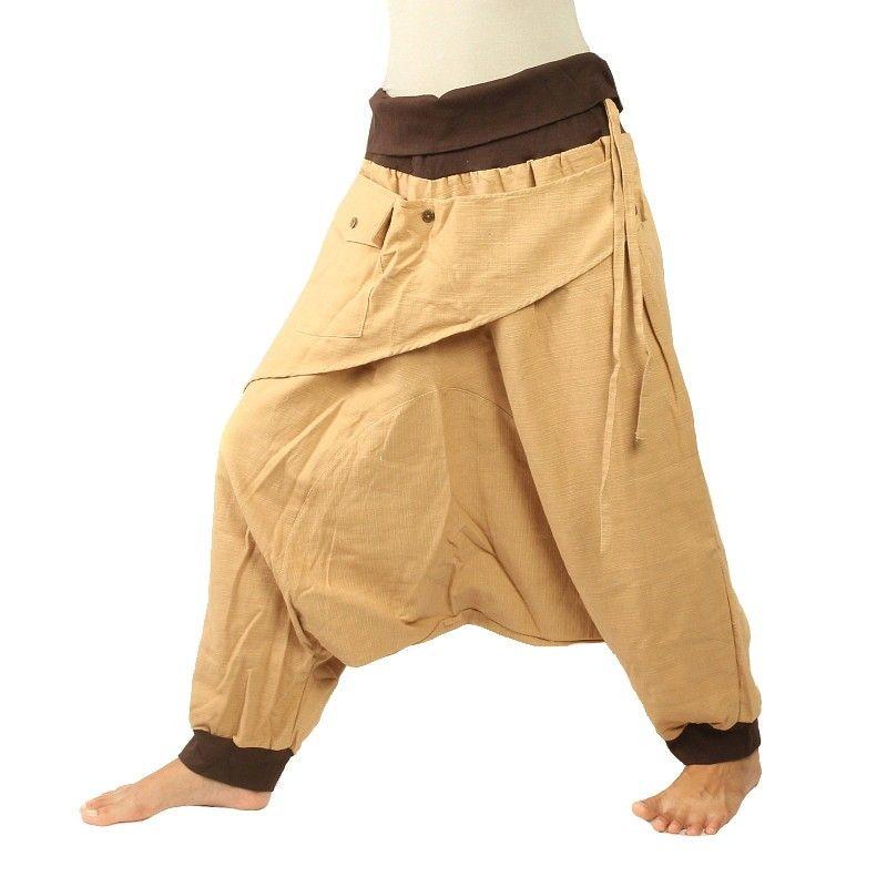 3/5 Aladinhose - Khaki mit Stoff Zier Applikation und Tasche