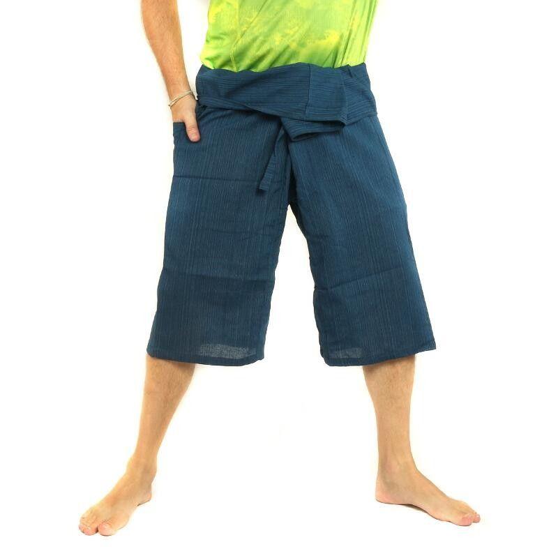 SanSan Bääb Laay Faa 3/5 Estilo de los pantalones pescador tailandés - azul - Algodón