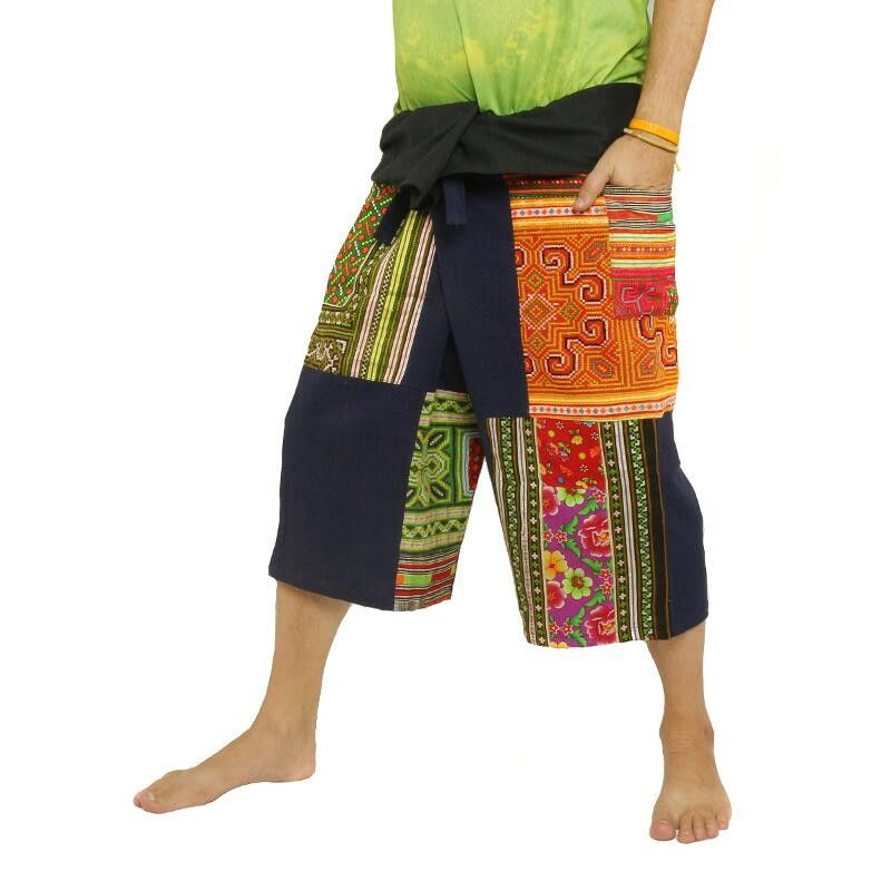 Thai Fischerman Patchwork Shorts braun