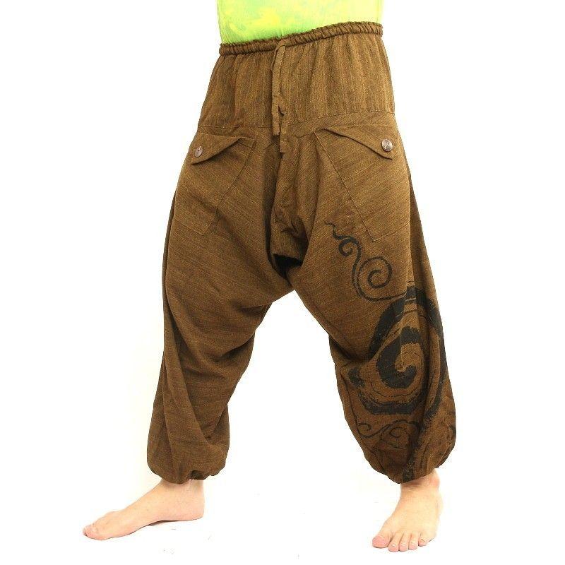 pantalones harén Boho Chic- de color marrón claro