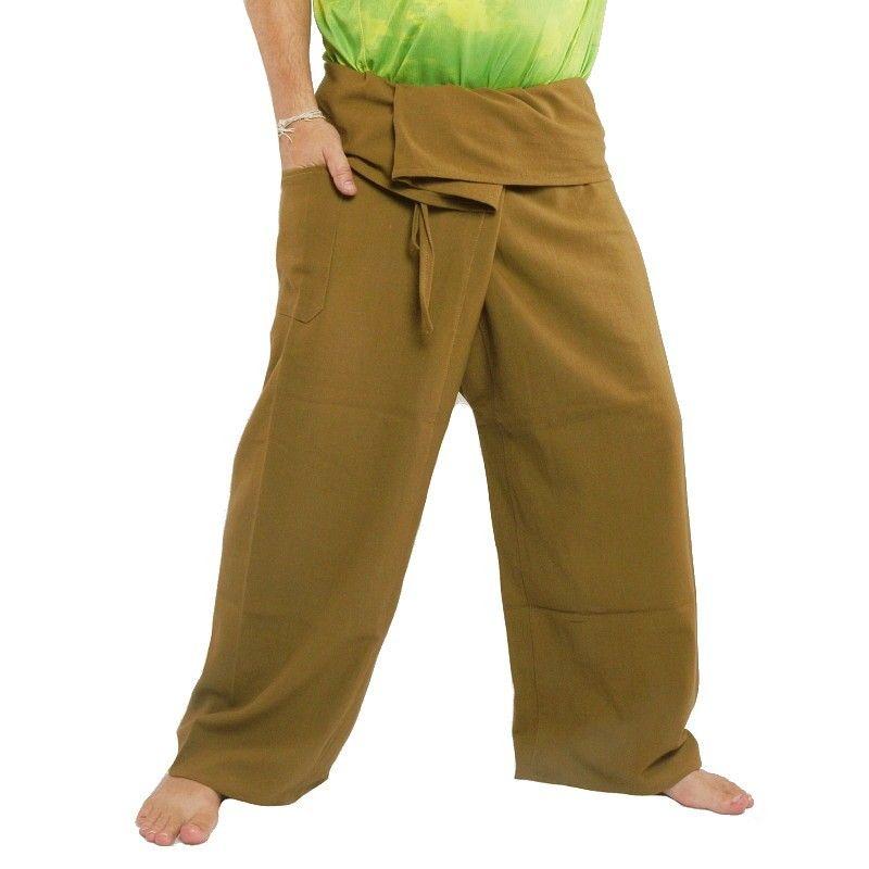 Thai fisherman pants - khaki - extra long cotton