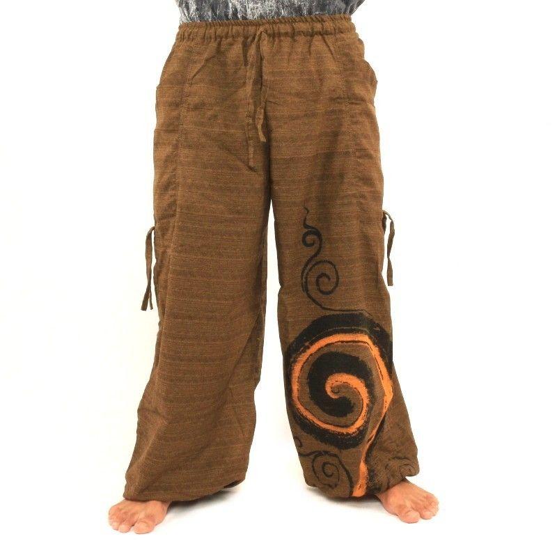 Pantalones de harén para atar diseño en espiral hecha de algodón pesado