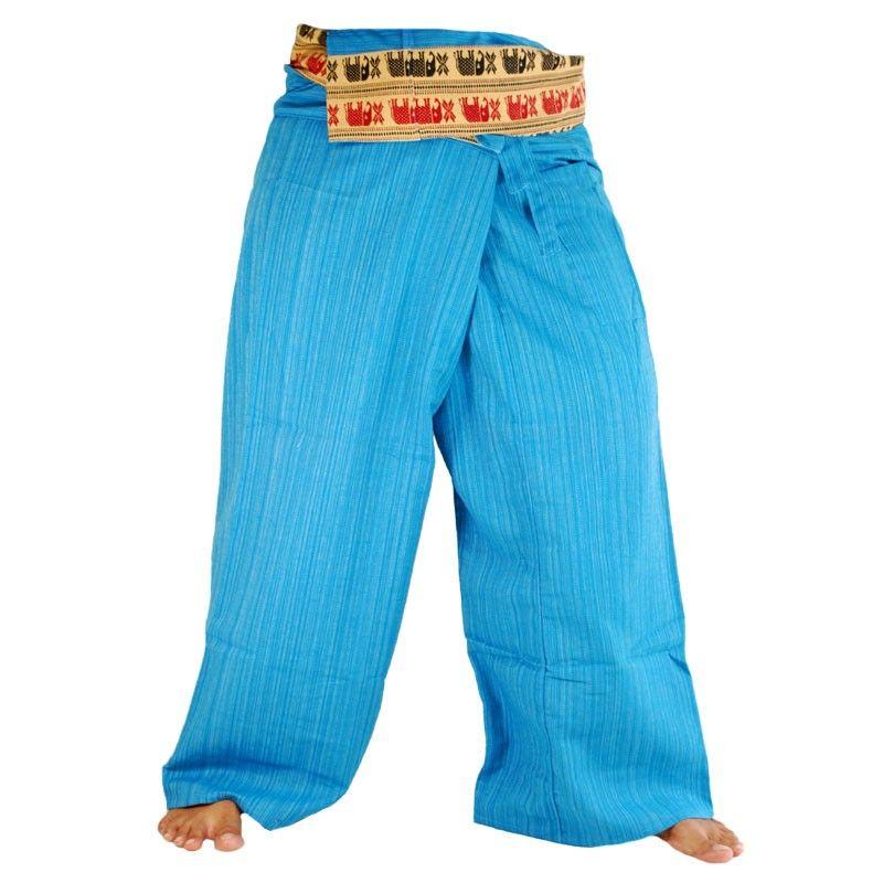 Wickelhose mit Muster Borte - Baumwolle - blau