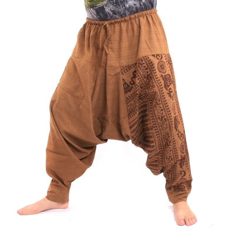 Aladdin pants with Sanskrit symbols cotton mix light brown