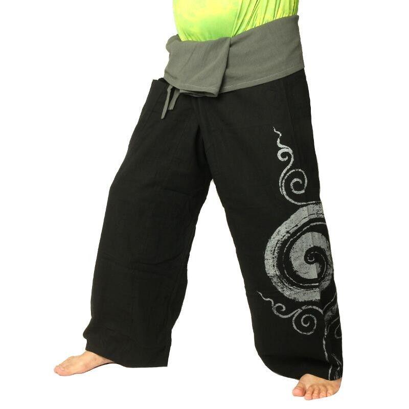 Thai Fisherman pants extra long - black with spiral print cotton