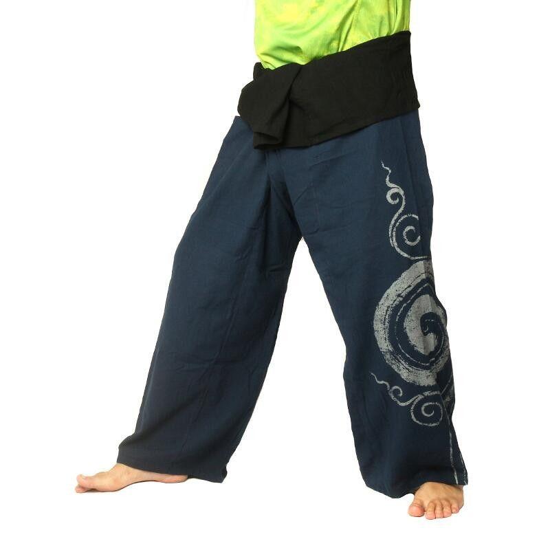 Thai Fisherman Pants extra lang - dunkel blau mit Spiral Aufdruck- Baumwolle