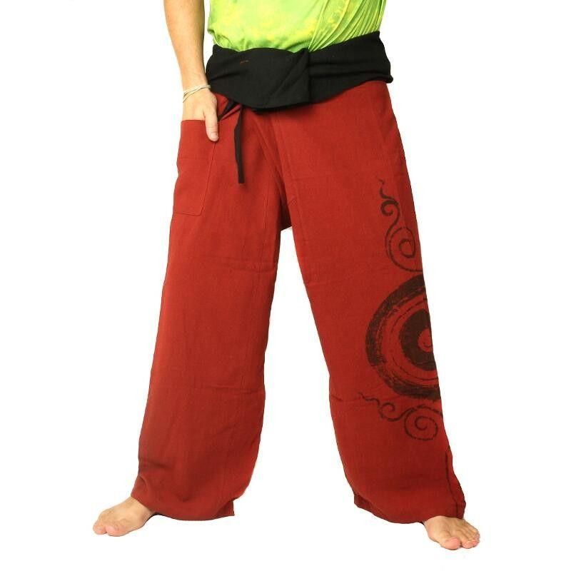Thai Fisherman Pants extra lang - braun mit Spiral Aufdruck- Baumwolle